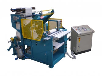 Slitter rewinder machine for paper plotter rolls and vinyls and microperforated paper - TRG