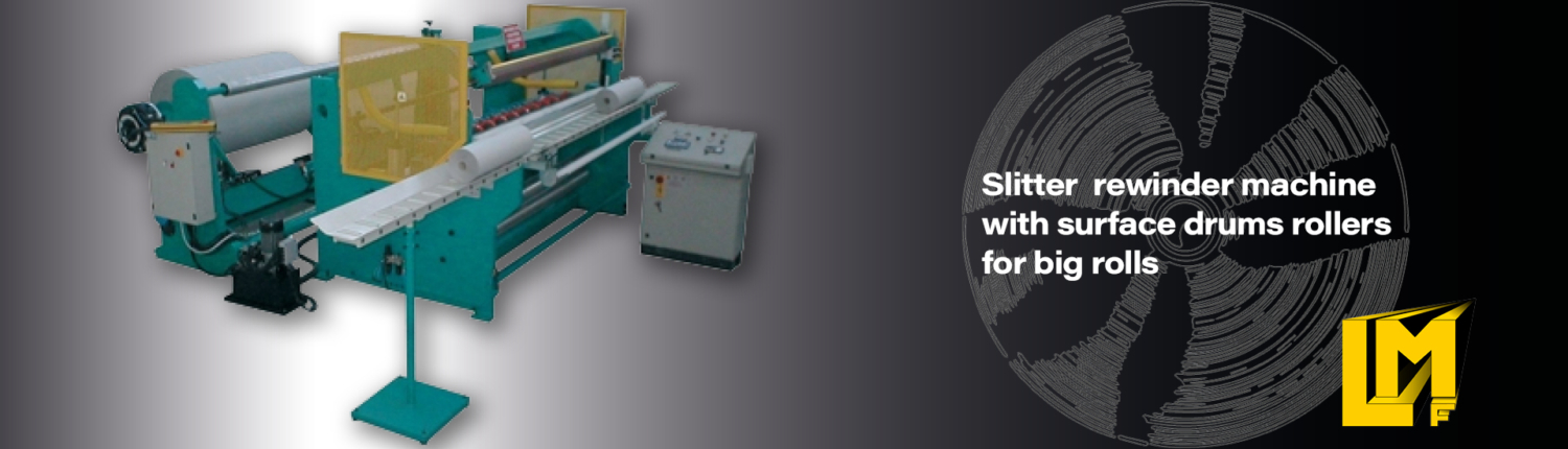 Slitter rewinder machine for paper plotter rolls and vinyls